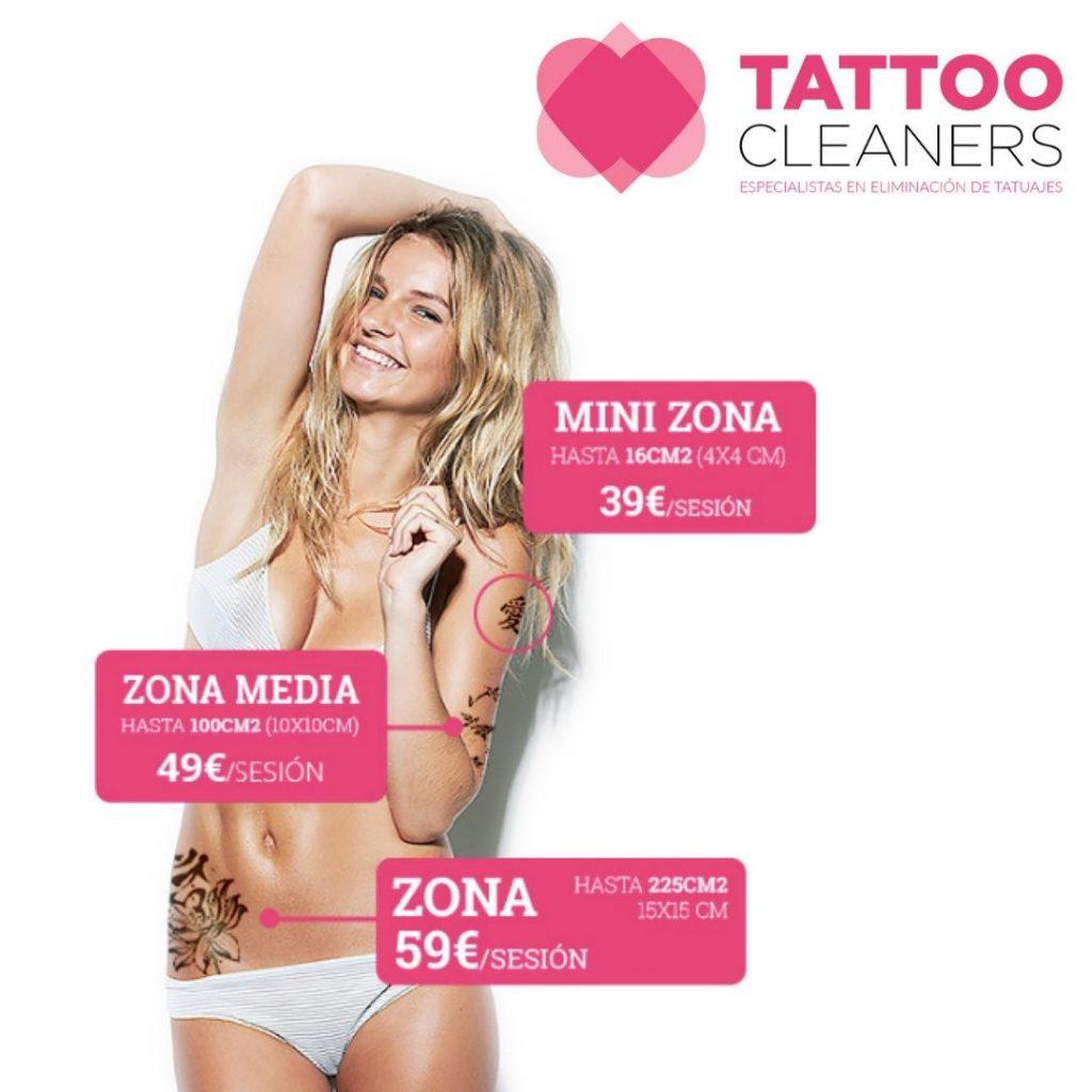 Tarifas precios de eliminación de tatuaje con láser